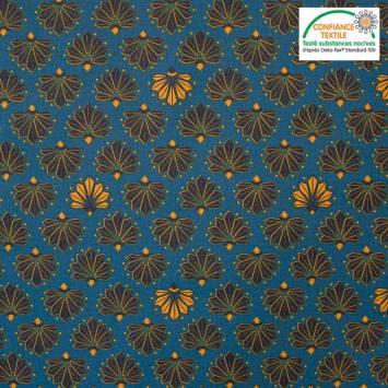 Coton bleu motif diva ocre Oeko-tex