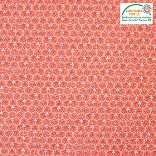 Coton corail motif trèfle riad Oeko-tex