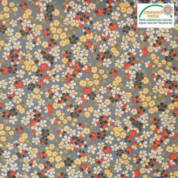 Coton gris motif japonais sakura Oeko-tex