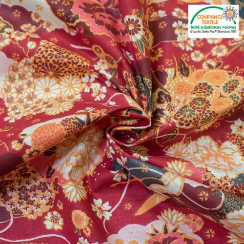 Coton beige motif fleur ikebana japonaise rouge Oeko-tex