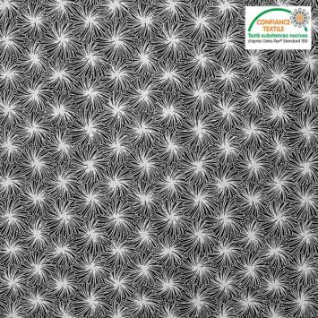 Coton noir motif futon blanc Oeko-tex