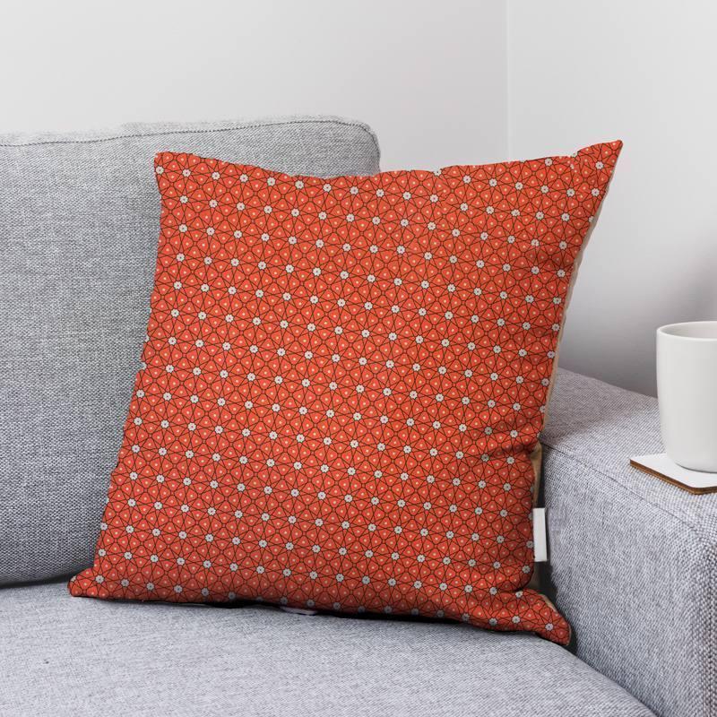 Coton orange brûlée motif ceramik Oeko-tex