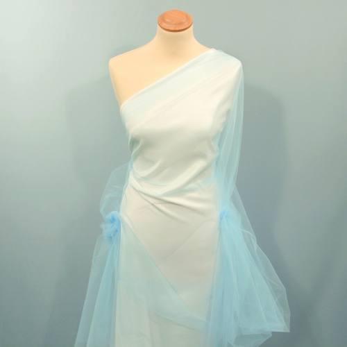 Tulle bleu poudré pour robe de mariée grande largeur