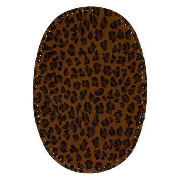 Coudes thermocollants imitation daim marron motif léopard X2