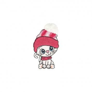 Écusson brodé chaton bonnet