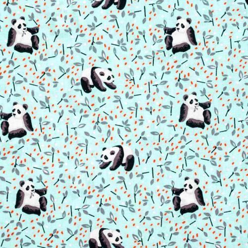 Coton bleu givré imprimé panda