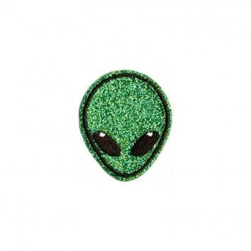 Ecusson brodé thermocollant alien paillettes vert