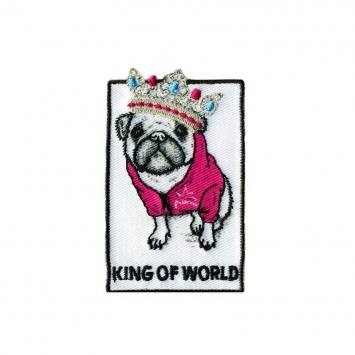 Ecusson brodé chien king of world