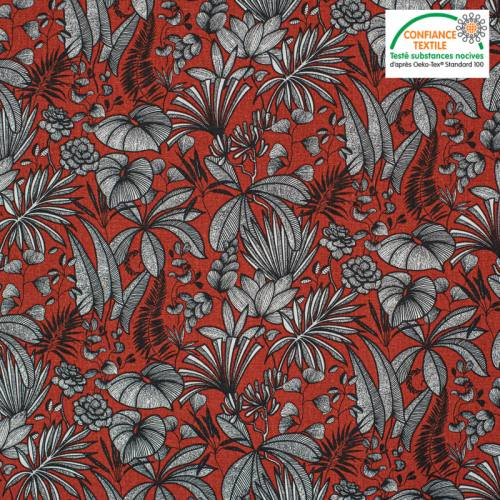 Coton rouge brique motif feuilles java Oeko-tex