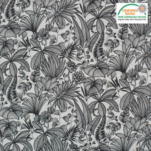 Coton blanc motif feuilles java Oeko-tex