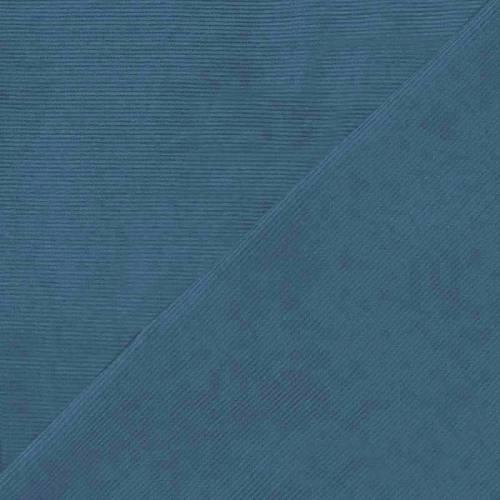 Tissu velours milleraies bleu pétrole