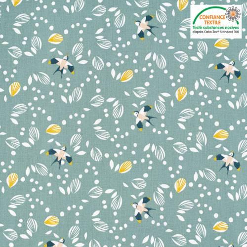 Coton vert-de-gris motif hirondelle jolhiro Oeko-tex