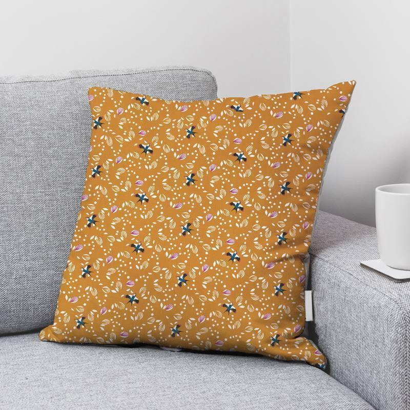 Coton ocre motif hirondelle jolhiro Oeko-tex