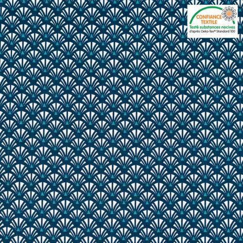 Coton bleu marine motif éventail yazo Oeko-tex