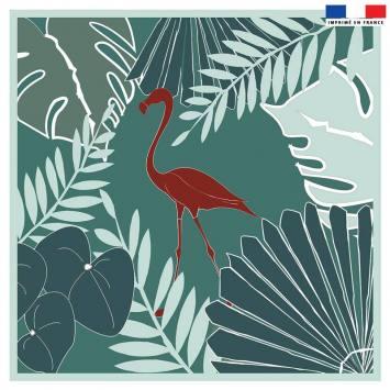 Coupon 45x45 cm bleu motif flamingo exotique - Création Marie-Eva