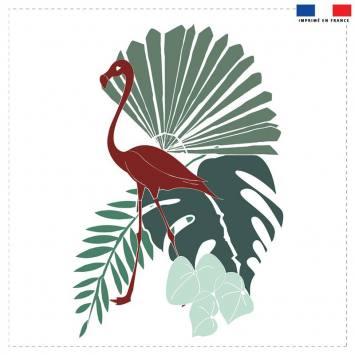 Coupon 45x45 cm bleu motif flamingo et palme - Création Marie-Eva