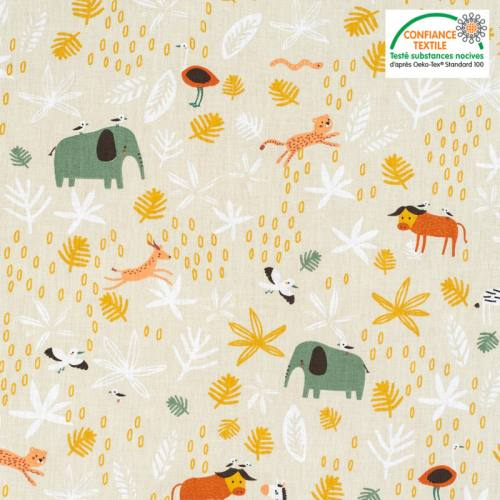 Coton beige motif éléphant et zèbre gizou Oeko-tex