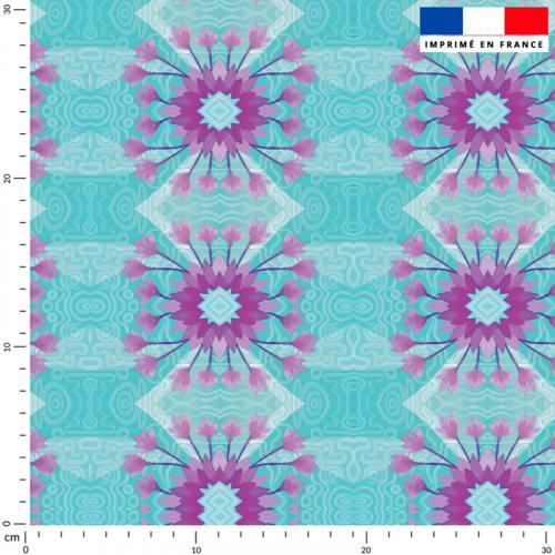 Fleur ethnique mauve - Fond bleu - Création Lita Blanc