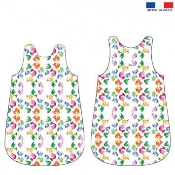 Coupon velours d'habillement pour gigoteuse motif pajaros colores - Création Lita Blanc