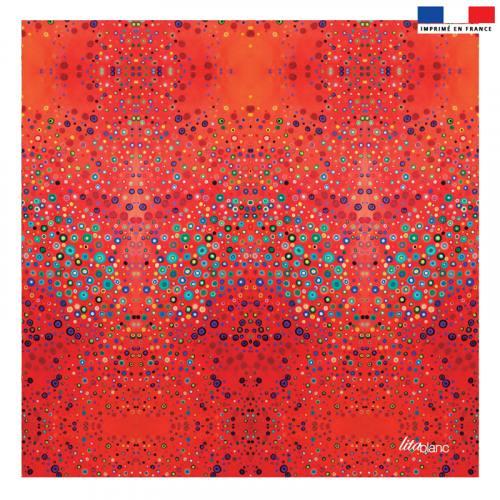 Coupon 45x45 cm rouge motif cercles bleus - Création Lita Blanc