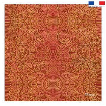 Coupon 45x45 cm rouge motif formes jaunes abstraites - Création Lita Blanc