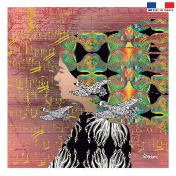 Coupon 45x45 cm rosé motif diva et oiseaux - Création Lita Blanc