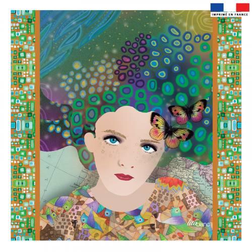 Coupon 45x45 cm vert motif diva et papillons - Création Lita Blanc