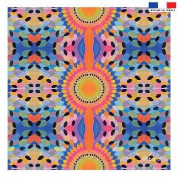Coupon 45x45 cm indigo motif pétales de fleurs - Création Lita Blanc