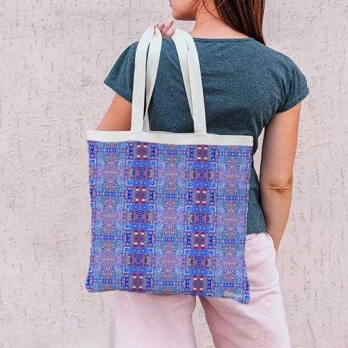 Coupon 45x45 cm bleu motif petits carrés - Création Lita Blanc