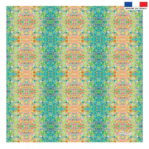 Coupon 45x45 cm bandes de ronds verts et orange - Création Lita Blanc