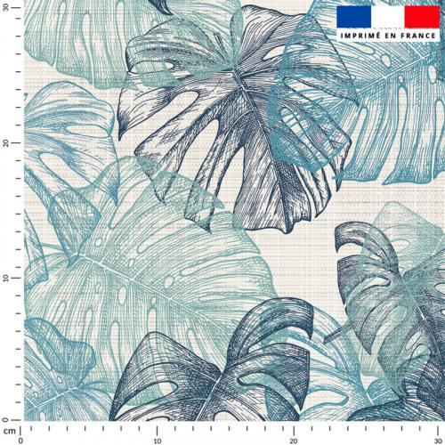 Tissu imperméable écru motif feuille de monstera bleu