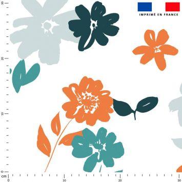 Tissu imperméable écru motif fleur orange et bleue