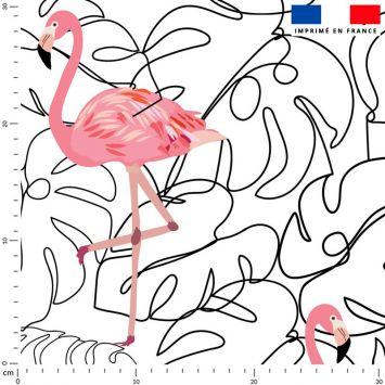 Tissu imperméable écru motif line art et flamant rose