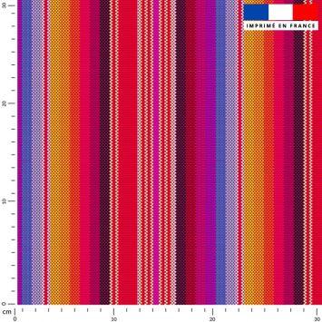 Tissu imperméable multicolore motif mexicain rayé