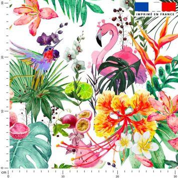 Tissu imperméable blanc motif fruit tropical