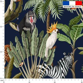 Tissu imperméable bleu marine motif jungle et animaux