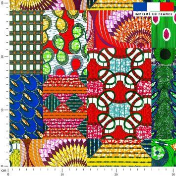 Tissu imperméable multicolore motif wax patchwork