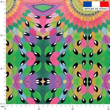 Tissu imperméable vert motif nénuphar rose et ocre - Création Lita Blanc