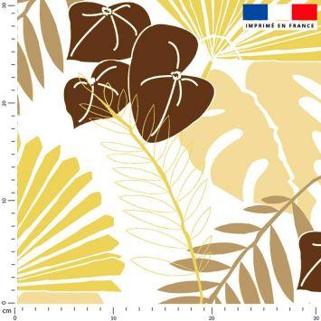 Tissu imperméable écru motif palme exotique sable - Création Marie-Eva