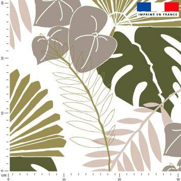 Tissu imperméable écru motif palme exotique verte - Création Marie-Eva