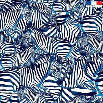 Tissu imperméable écru motif zèbre bleu - Création Lou Picault