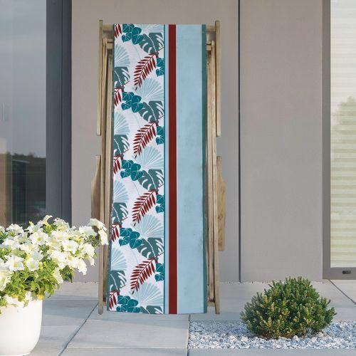 Coupon 45x150 cm tissu imperméable motif palme exotique bleue pour transat - Création Marie-Eva