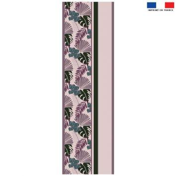 Coupon 45x150 cm tissu imperméable motif palme exotique rose pour transat - Création Marie-Eva
