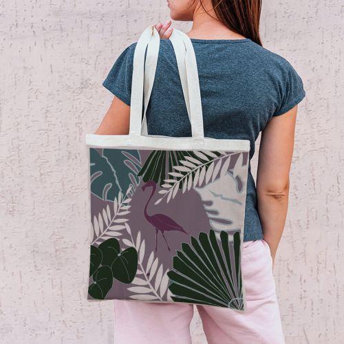 Coupon 45x45 cm violine grisée motif flamingo exotique - Création Marie-Eva