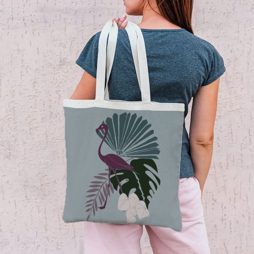 Coupon 45x45 cm bleu gris motif flamingo et palme - Création Marie-Eva