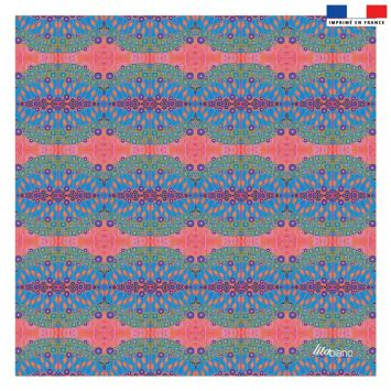 Coupon 45x45 cm corail motif formes abstraites bleues - Création Lita Blanc