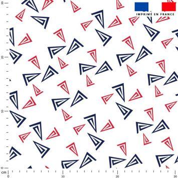 Bateau bleu et rouge - Fond écru
