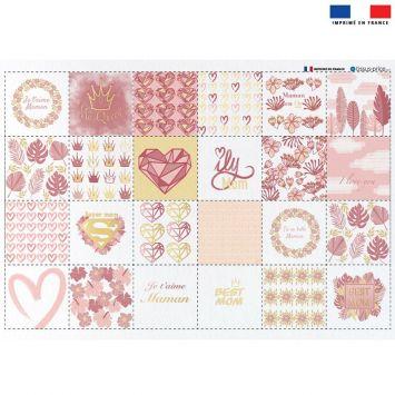 Coupon éponge pour lingettes démaquillantes motif super maman pink & gold