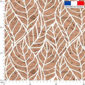 Tissu imperméable motif feuille et effet texture liège
