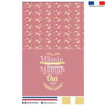 Kit pochette rose motif citation mamie